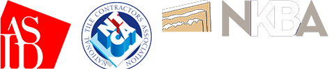 Logos for the American Society of Interior Designers, National Tile Contractors Association, National Kitchen and Bath Association, and Natural Stone Institute of America (formerly Marble Institute of America)